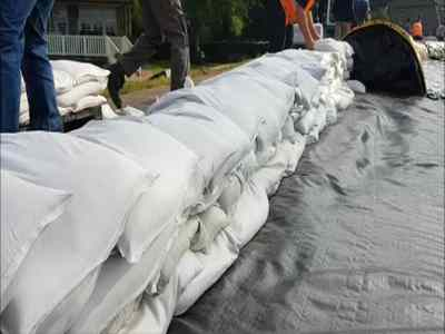 Sandbags on a embankment